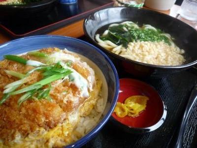 浦添市牧港 手打うどん総本家 得得のチキンカツ丼ランチで温かいうどん¥750