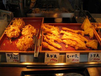 讃岐釜揚げうどん 丸亀製麺 宜野湾店の野菜かきあげ・えび天・いか天・きす天